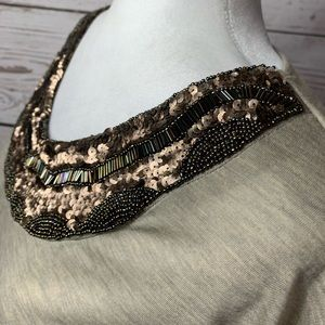 Charlotte Russe Tops - EUC Charlotte Russe Tan Copper Sequined Beaded Top